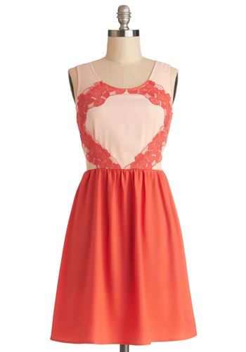 Destination Wedding Dress - Woven, Mid-length, Lace, Party, A-line, Tank top (2 thick straps), Good, Scoop, Coral, Exposed zipper, Valentine's