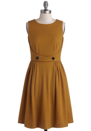 Coffee Epicurean Dress by Myrtlewood - Knit, Mid-length, Solid, Buttons, Casual, A-line, Sleeveless, Better, Yellow, Work, Vintage Inspired, Exclusives, Private Label