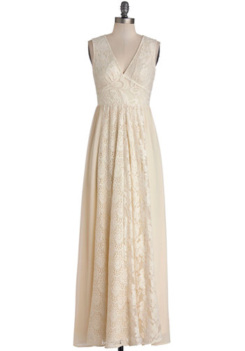 Crème de la Bohème Dress - Chiffon, Sheer, Woven, Long, Wedding, Bride, White, Solid, Party, Maxi, Sleeveless, Better, V Neck, Cream, Crochet, Lace, Boho