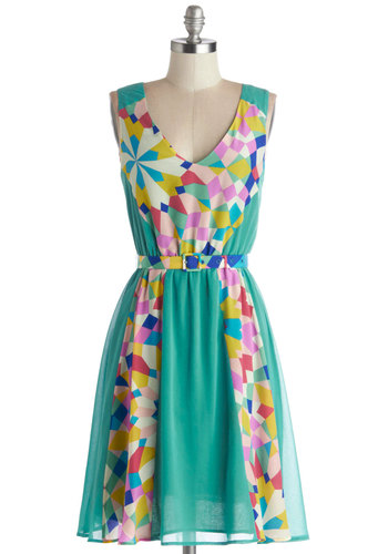 Lisbon Closely Dress - Multi, Backless, Belted, Daytime Party, A-line, Sleeveless, Better, V Neck, Woven, Mid-length, Mint, Print