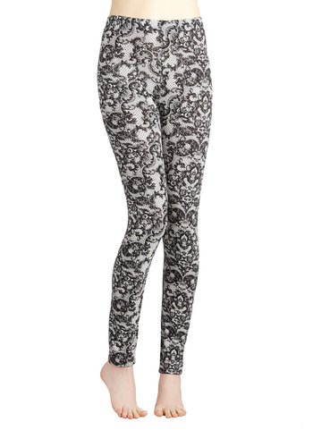 Lace Get Together Leggings - Skinny, Good, Mid-Rise, Full length, Black, Casual, Girls Night Out, Vintage Inspired, 90s, Steampunk, Black, White, Novelty Print