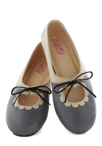 Reason to Smile Flat - Low, Leather, Grey, Tan / Cream, Solid, Casual, Darling, Best, Scallops