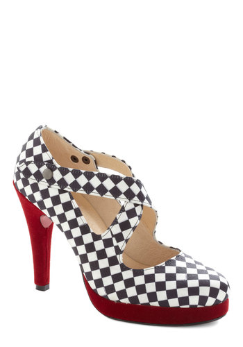 What's Bold is New Heel - High, Woven, Red, Checkered / Gingham, Party, Girls Night Out, Statement, Best, Multi, Black, White, Platform