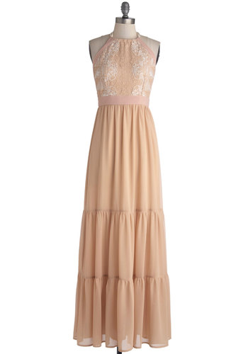 Shore Date Dress - Cotton, Chiffon, Sheer, Woven, Long, Tan / Cream, Lace, Party, Boho, Maxi, Halter, Better, Crew, Pink, Pastel, Bridesmaid, Lace, Wedding