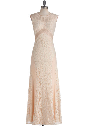 Candlelit Soiree Dress - Cutout, Trim, Wedding, Bride, Maxi, Sleeveless, Better, Chiffon, Sheer, Woven, Long, Tan / Cream, Embroidery, Pastel, Lace, Blush, Special Occasion, Prom