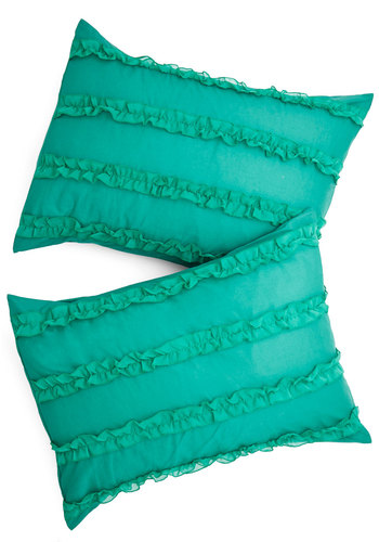 Such Sweet Slumber Pillow Sham Set - Cotton, Woven, Mixed Media, Green, Ruffles, Luxe, Good, Solid, Exclusives