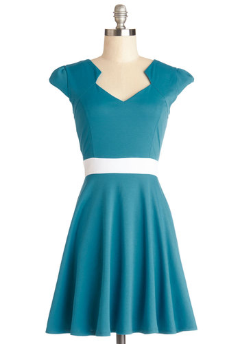 Vivacious and Vibrant Dress in Turquoise - Knit, Blue, White, Casual, A-line, Cap Sleeves, Good, Variation, Short, Spring, Top Rated