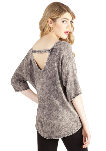 Fulfilled with Joy Top - Woven, Mid-length, Grey, Casual, 3/4 Sleeve, Scoop, Grey, 3/4 Sleeve, Good, Vintage Inspired, 80s, 90s