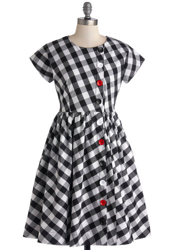 Library Assistant Dress by Bea & Dot - Cotton, Woven, Mid-length, Black, White, Checkered / Gingham, Buttons, Casual, A-line, Short Sleeves, Better, Pockets, Vintage Inspired, Exclusives, Private Label, Crew
