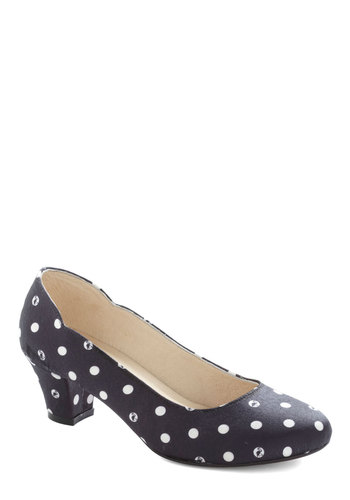 Darling Dance Steps Heel - Mid, Woven, Black, White, Polka Dots, Party, Best, Print with Animals