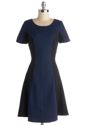 Dash of Contrast Dress - Blue, Black, Casual, A-line, Short Sleeves, Good, Scoop, Colorblocking, Mid-length, Show On Featured Sale