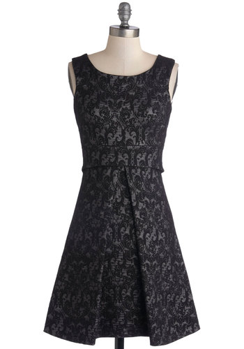 Shimmering Shindig Dress - Knit, Mid-length, Black, Silver, Print, Cutout, Exposed zipper, Cocktail, A-line, Sleeveless, Better, Scoop