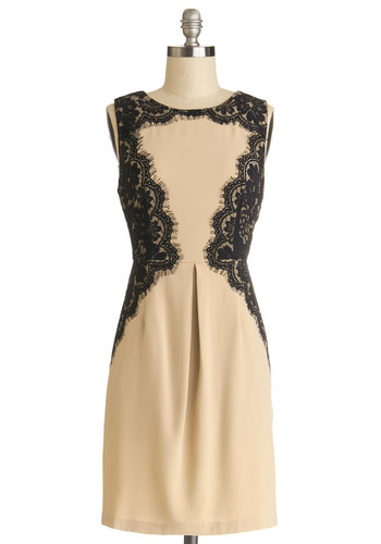 Yea or Matinee Dress - Mid-length, Black, Lace, Party, Sheath / Shift, Sleeveless, Better, Cream, Cocktail