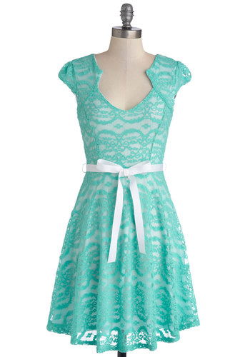 Sweet Staple Dress - Sheer, Knit, Mid-length, Mint, White, Lace, Belted, Party, Pastel, A-line, Cap Sleeves, Good, Wedding, Bridesmaid, Lace