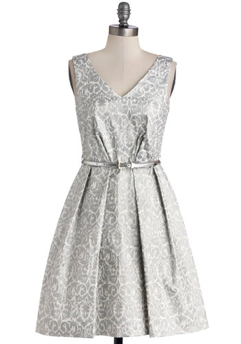 Make a Grand Entrance Dress - Cotton, Woven, Mid-length, White, Print, Belted, Party, Fit & Flare, Sleeveless, Better, V Neck, Silver, Pleats