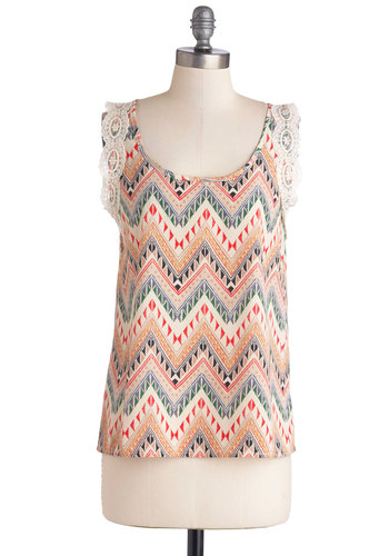 Eclectic Evening Top - Knit, Woven, Mid-length, Multi, Red, Green, Brown, Tan / Cream, Print, Chevron, Sleeveless, Multi, Sleeveless, Lace, Casual, Lace, Spring