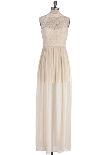Montreal I Ever Dreamed Of Dress - Long, Cotton, Chiffon, Sheer, Woven, Cream, Solid, Backless, Wedding, Daytime Party, Bride, Maxi, Sleeveless, Better, Crochet