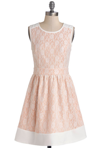 Miss Winsome Dress - Sheer, Woven, Mid-length, Pink, White, Lace, Party, Pastel, A-line, Sleeveless, Better, Scoop, Exposed zipper, Valentine's, Spring, Wedding, Bridesmaid, Lace