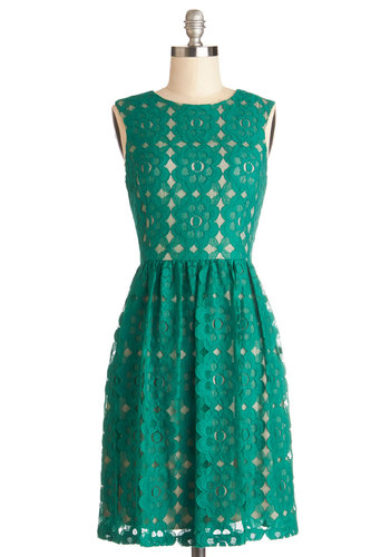 Outdoor Arpeggios Dress in Jade - Green, Tan / Cream, Lace, Party, A-line, Sleeveless, Better, Mid-length, Lace