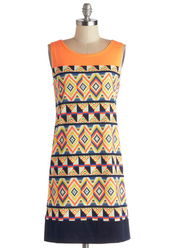 The Beat of Your Art Dress - Jersey, Knit, Mid-length, Multi, Print, Casual, Shift, Sleeveless, Good, Scoop, Orange, Blue, Press Placement, Show On Featured Sale