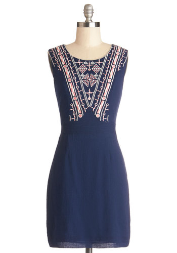 Drinks with a View Dress - Mid-length, Cotton, Woven, Blue, Pink, Embroidery, Casual, Sheath / Shift, Sleeveless, Better