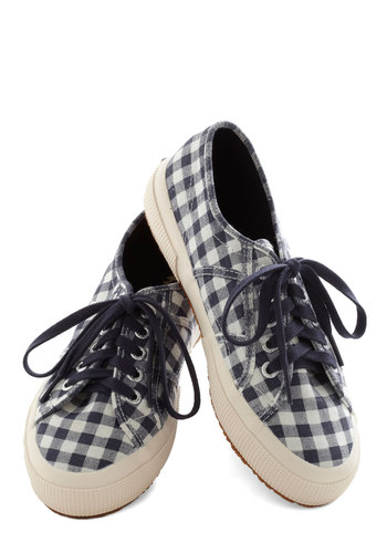 Picnic for One Sneaker in Navy - Low, Woven, Blue, Better, Lace Up, Checkered / Gingham, White, Casual, Variation