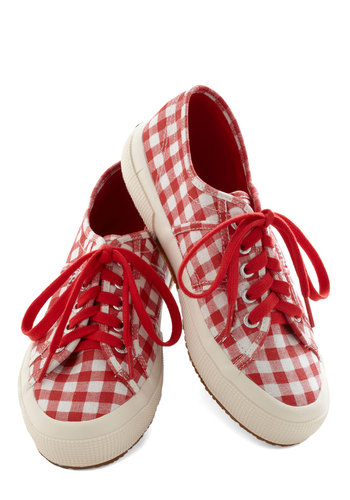 Picnic for One Sneaker in Red - Low, Woven, Red, Checkered / Gingham, Better, Lace Up, White, Casual, Variation