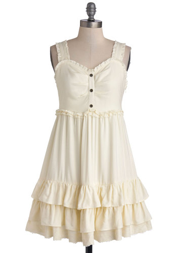 Late Morning Love Song Dress - Woven, Short, Cream, Solid, Buttons, Ruffles, Tiered, Casual, A-line, Sleeveless, Good, Sweetheart