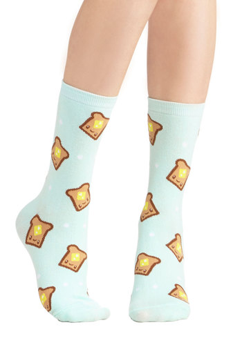 Bread and Breakfast Socks - Knit, Mint, Yellow, Tan / Cream, Casual, Quirky, Good, Kawaii, Novelty Print, Gals, Under $20