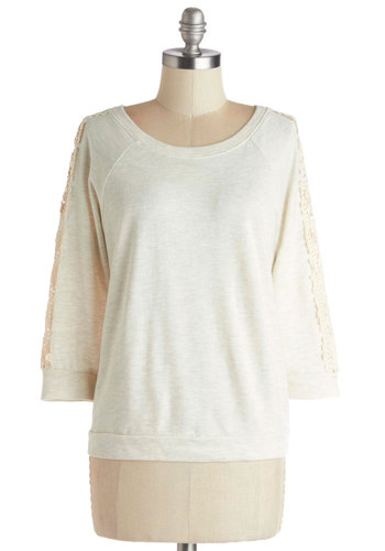 Cafe Book Club Top - Better, Grey, Long Sleeve, Mid-length, Sheer, Knit, Tan, Solid, Crochet, Casual, 3/4 Sleeve, Scoop