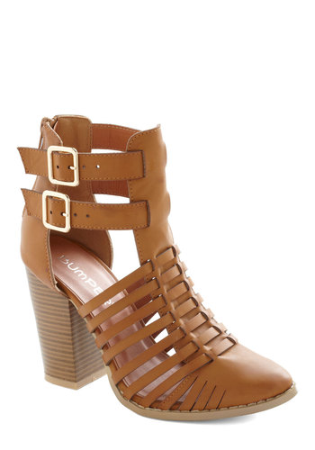 Verdict's Still Haute Heel - High, Faux Leather, Tan, Solid, Buckles, Cutout, Daytime Party, Good, Strappy, Chunky heel, Boho, Statement