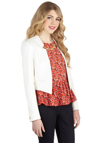 Wine Tasting Classic Blazer by Closet - Woven, Short, White, Buttons, Pockets, Party, Work, Menswear Inspired, Long Sleeve, Good, White, Long Sleeve, Cropped, 1