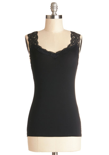 Tanks for Visiting Top - Sheer, Knit, Mid-length, Black, Solid, Lace, Sleeveless, Good, Black, Sleeveless, Lace, Spring, Summer