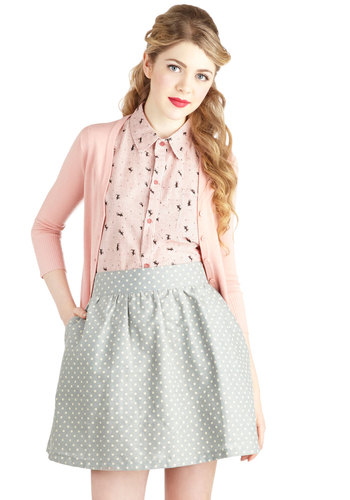 Around the Corner Skirt - Woven, Short, Grey, Polka Dots, Pockets, Casual, High Waist, Good, Grey, A-line