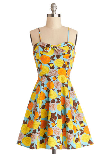 Getting Dot in Here Dress in Roses - Multi, Floral, Casual, A-line, Spaghetti Straps, Good, Sweetheart, Woven, Mid-length, Variation, Sundress