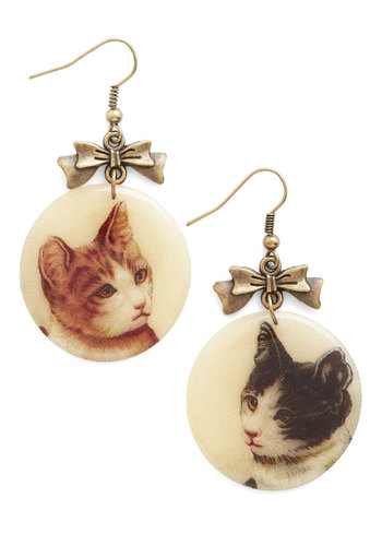 Picture Purr-fect Earrings - Cream, Multi, Print with Animals, Bows, Cats, Gold, Better, Vintage Inspired