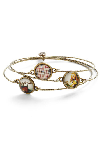 Works Wonderland Bracelet Set - Multi, Checkered / Gingham, Gold, Better, Novelty Print, Festival, Boho