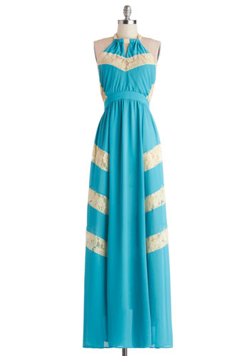 Riviera Dinner Date Dress - Blue, Tan / Cream, Solid, Lace, Trim, Daytime Party, Maxi, Halter, Better, Woven, Long, Beach/Resort