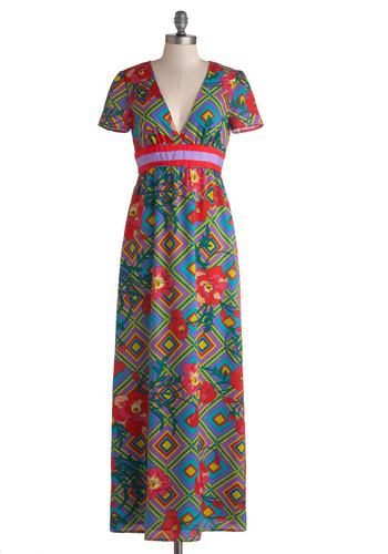 Fervent Florist Dress - Multi, Print, Backless, Daytime Party, Maxi, Short Sleeves, Better, V Neck, Woven, Long, Beach/Resort
