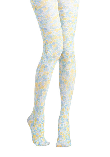 Floral Pathways Tights - Yellow, Floral, Better, Daytime Party, Knit, Blue