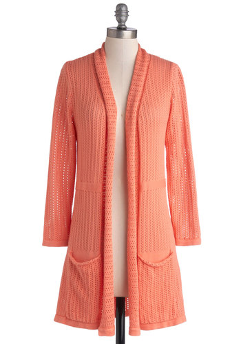 To Teach Her Own Cardigan in Coral by Myrtlewood - Sheer, Knit, Solid, Pockets, Long Sleeve, Exclusives, Private Label, Orange, Long Sleeve, Variation, Coral, Casual