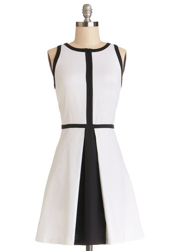 Cute to the Court Dress by BB Dakota - White, Black, Exposed zipper, Trim, Casual, A-line, Sleeveless, Better, Scoop, Woven, Mid-length, Press Placement, Show On Featured Sale