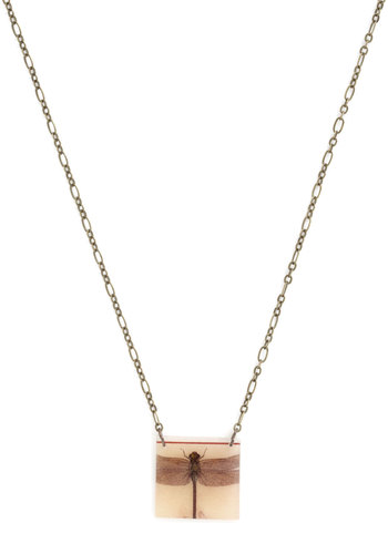 Give Me a Buzz Necklace - Tan, Black, Print with Animals, Gold, Good