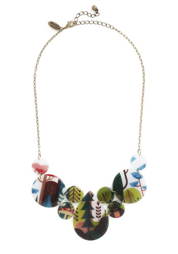 Photographic Memory Necklace in Forest - Multi, Print, Rustic, Gold, Better, Statement, Gals