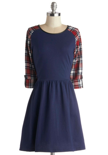 Sleeve It to Chance Dress - Mid-length, Blue, Red, Casual, A-line, 3/4 Sleeve, Good, Scoop, Solid, Plaid, Exposed zipper, 90s