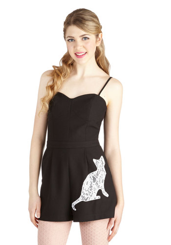 Feline Fancy Romper by Nishe - Long, Black, Lace, Pleats, Pockets, Cats, Spaghetti Straps, Sweetheart, Jumper, Better, Black, Non-Denim, Romper, Lace