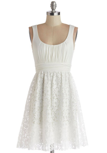 Artisan Iced Tea Dress in Coconut - Solid, Lace, Casual, A-line, Tank top (2 thick straps), Spring, Summer, Jersey, Knit, Lace, Sundress, Maternity, Best Seller, White, Top Rated, Short, Good, 4th of July Sale