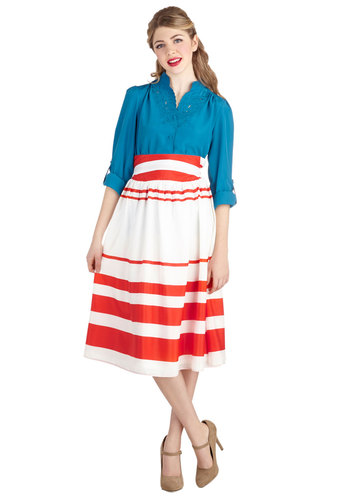 Fruit Pie Purveyor Skirt - Sheer, Woven, Long, White, Stripes, Casual, Vintage Inspired, A-line, High Waist, Midi, Good, White, Beach/Resort