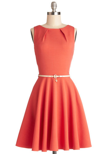 Luck Be a Lady Dress in Coral by Closet London - Coral, Solid, Belted, Work, Casual, Fit & Flare, Sleeveless, Better, Scoop, Woven, Exposed zipper, Pockets, Variation, Spring, Best Seller, Full-Size Run, Mid-length