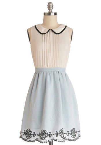Cake Decorating Class Dress - Sheer, Woven, Short, Blue, White, Embroidery, Pleats, Scallops, Casual, A-line, Sleeveless, Better, Collared, Peter Pan Collar, Darling